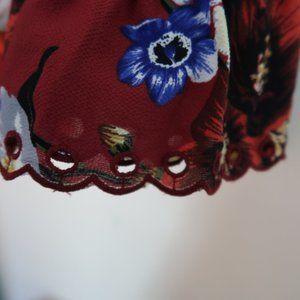 Ellen Tracy Tops - Ellen Tracy cranberry red floral Peasant Top Large